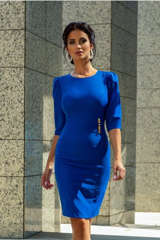 Rochie LaDonna by Catalin Botezatu albastra cu pliuri si nasturi decorativi in talie