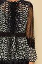 Rochie LaDonna by Catalin Botezatu ivory cu imprimeu chain negru si insertii din dantela
