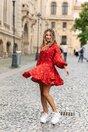 Rochie LaDonna by Catalin Botezatu lejera rosie cu imprimeu chain