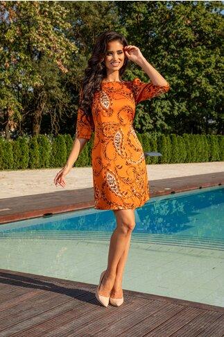 Rochie LaDonna by Catalin Botezatu orange cu imprimeu floral