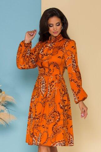 Rochie LaDonna by Catalin Botezatu orange cu imprimeuri florale