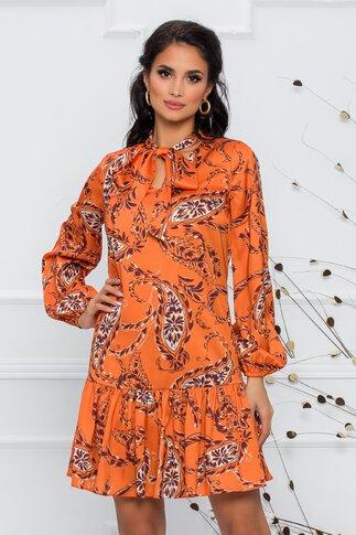 Rochie LaDonna by Catalin Botezatu orange cu imprimeuri florale si guler tip esarfa