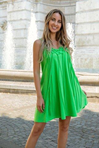 Rochie LaDonna by Catalin Botezatu verde crud cu franjuri si bretele subtiri