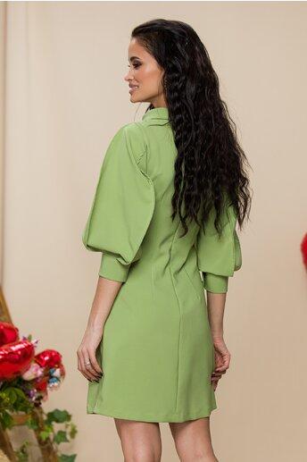 Rochie LaDonna by Catalin Botezatu verde deschis cu maneci stilizate