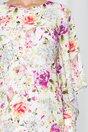Rochie LaDonna by DyFashion ivory cu maneci decupate si imprimeu floral