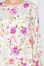 Rochie LaDonna by DYFashion ivory cu maneci lungi despicate si imprimeu floral