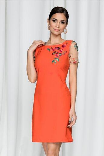 Rochie LaDonna by DyFashion portocalie accesorizata cu broderie si dantela