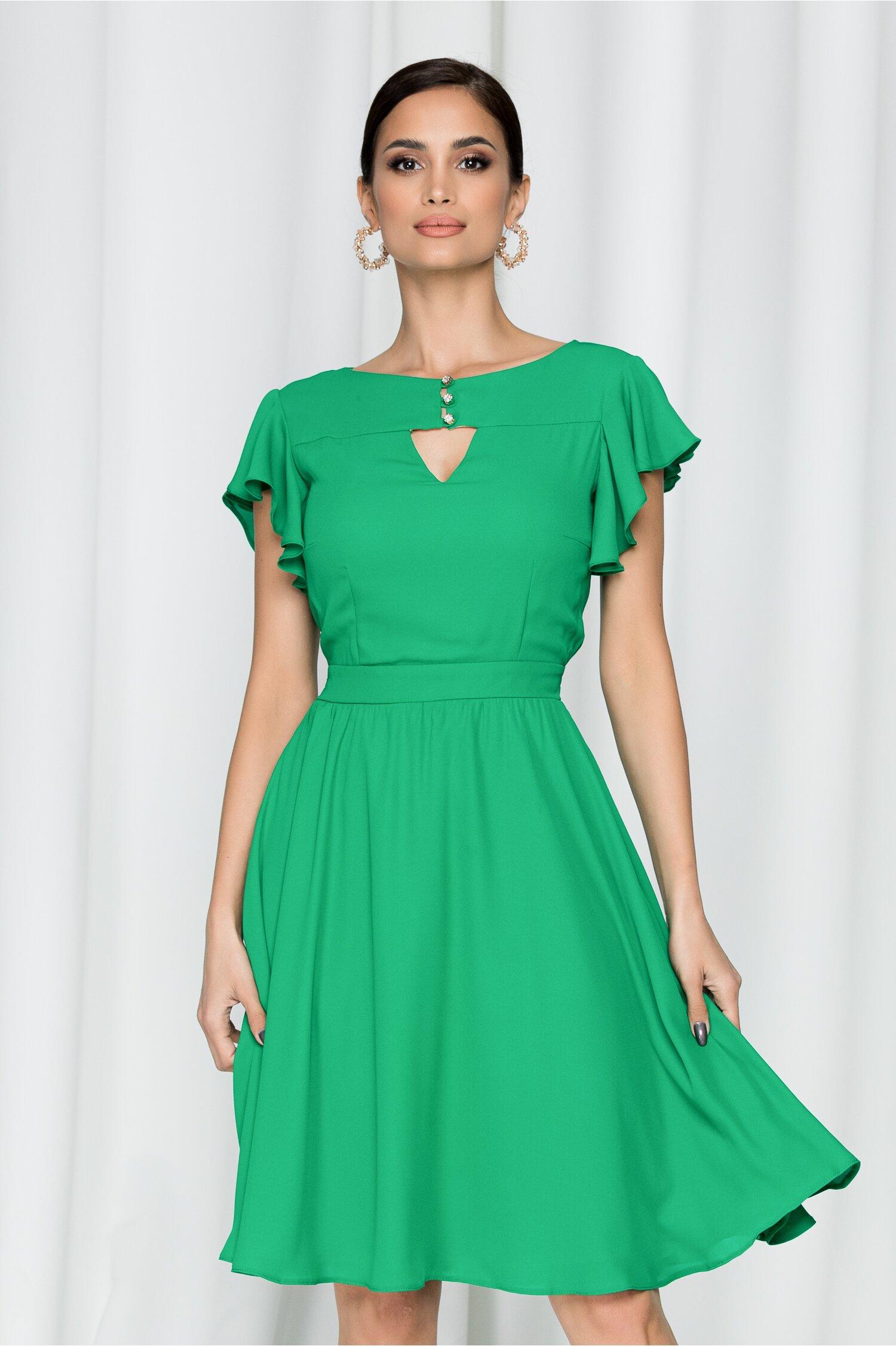 Rochie LaDonna by DyFashion verde cu maneci scurte accesorizate cu volanas