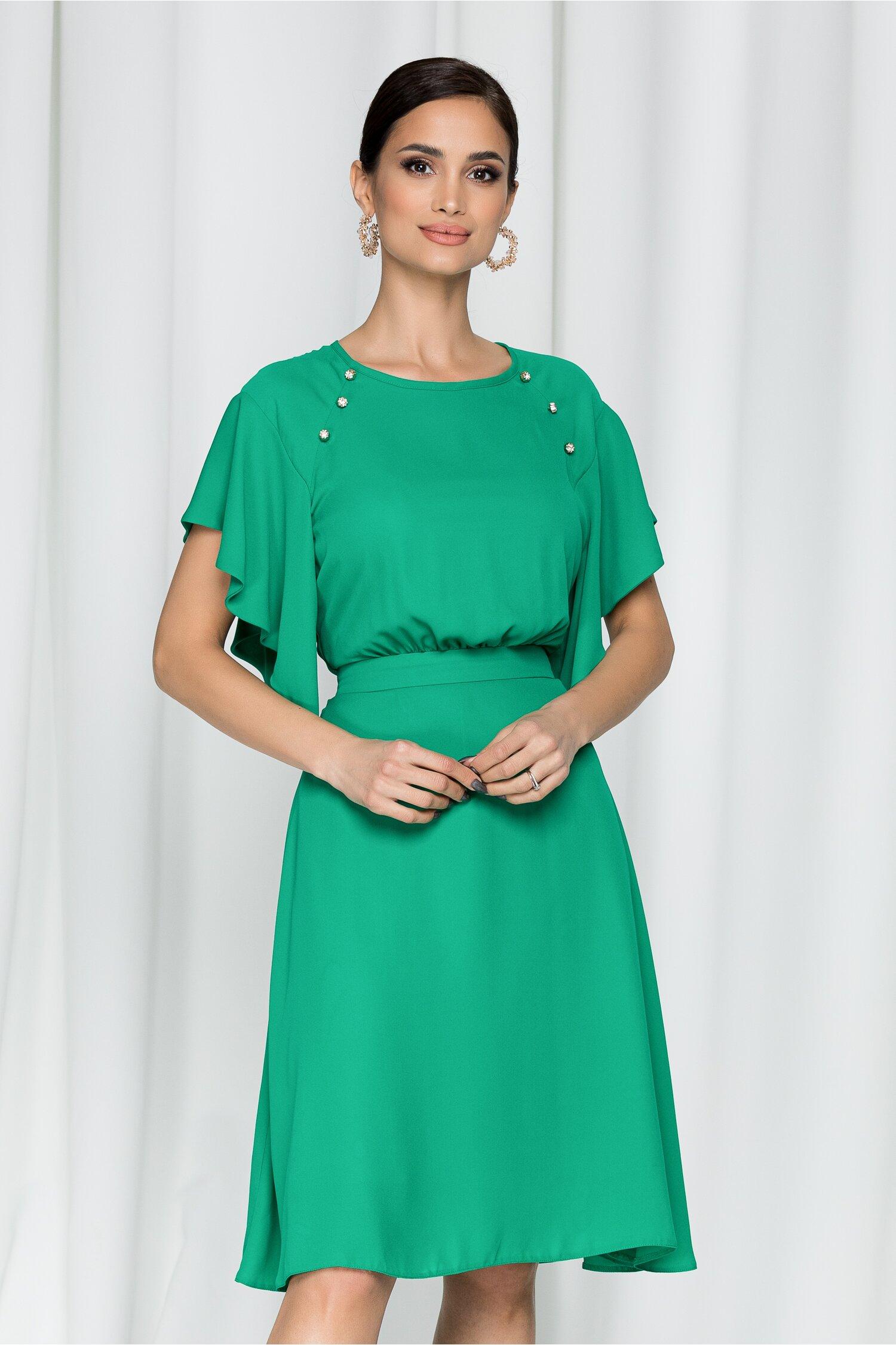 Rochie LaDonna by DYFashion verde cu nasturi decorativi si insertii stralucitoare