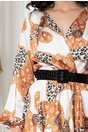 Rochie LaDonna caramiziu cu decolteu petrecut si animal print