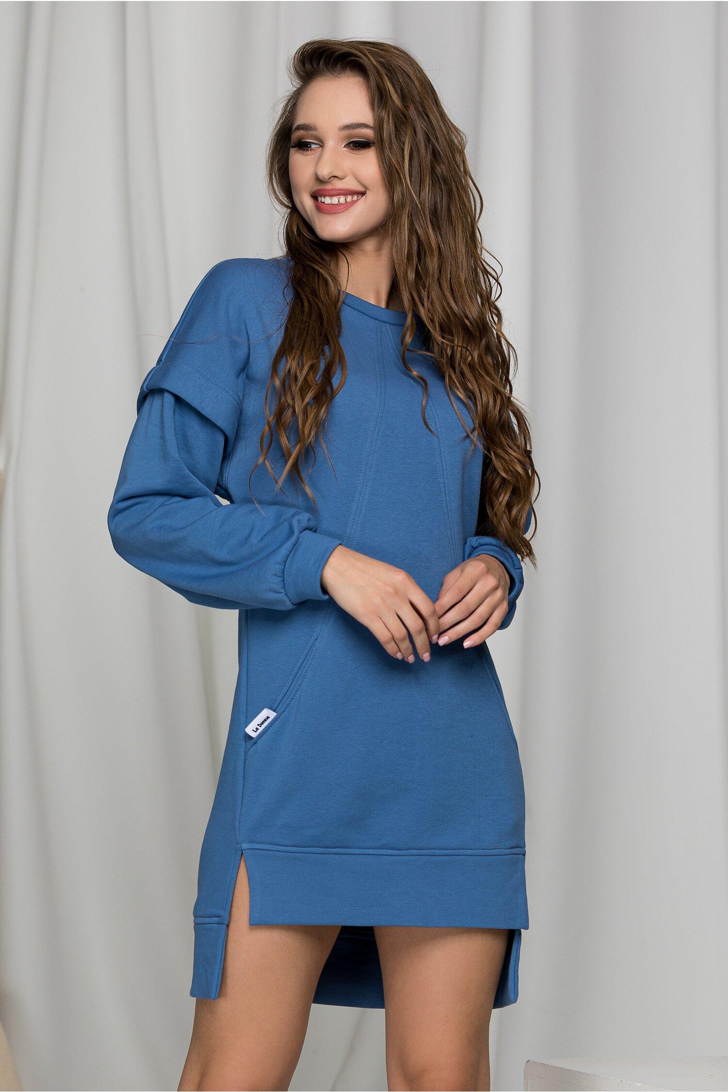 Rochie LaDonna casual bleu cu buzunare