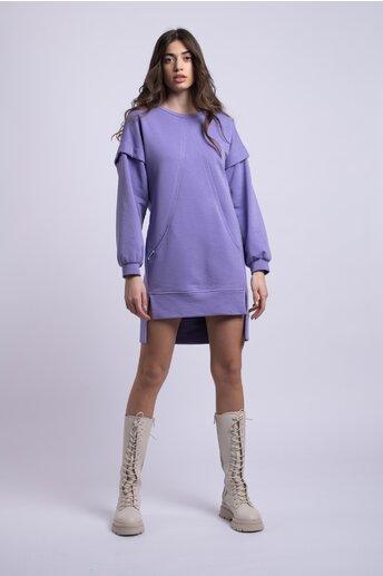 Rochie LaDonna casual lila cu buzunare