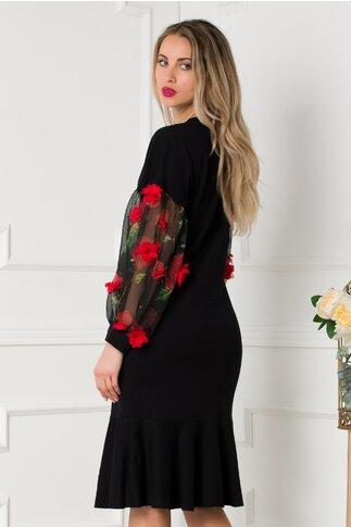 Rochie LaDonna casual neagra cu maneci din voal si flori 3D