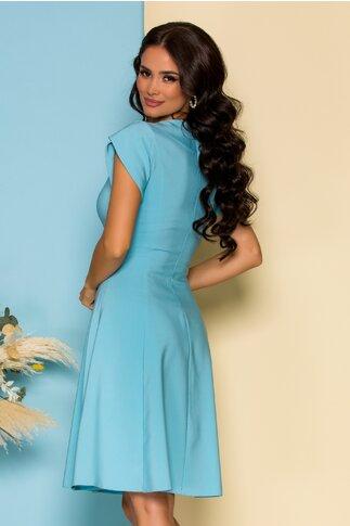 Rochie LaDonna clos bleu cu flori 3D la decolteu