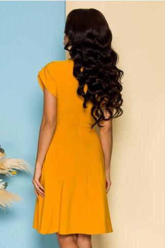 Rochie LaDonna clos galben mustar cu flori 3D la decolteu