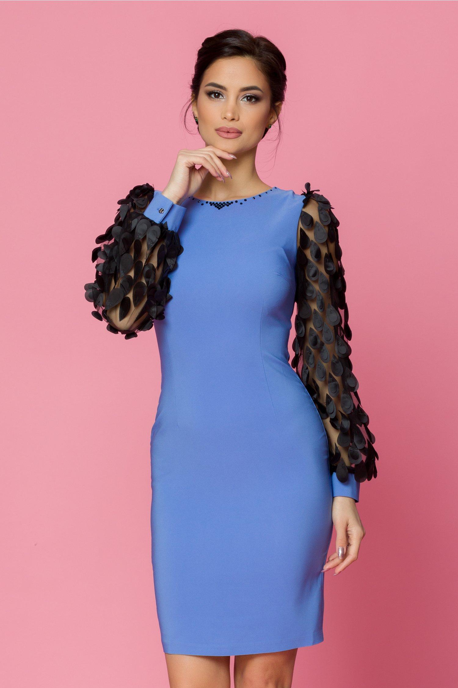 rochie ladonna conica bleu cu aplicatii pe maneci 482109 4