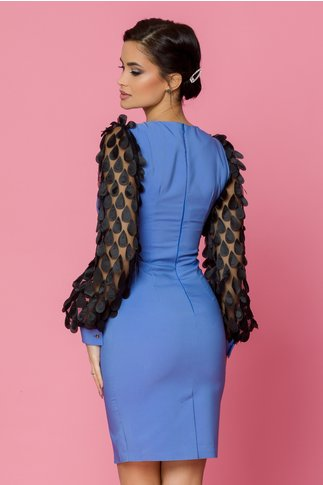 Rochie LaDonna conica bleu cu aplicatii pe maneci