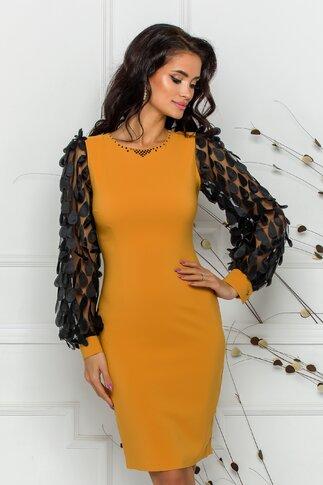 Rochie LaDonna conica galben mustar cu aplicatii pe maneci