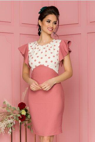 Rochie LaDonna conica roz prafuit cu buline la bust