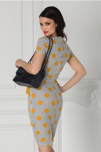 Rochie LaDonna cu buline galbene si dungi negre