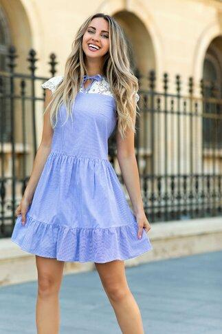 Rochie LaDonna cu dungi bleu si dantela