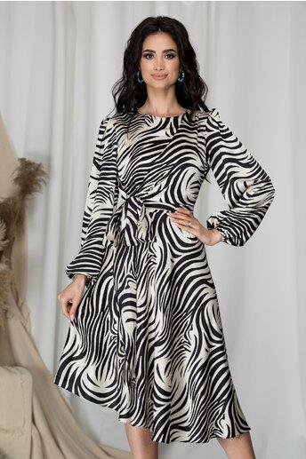 Rochie LaDonna cu imprimeu zebra si design cu funda la bust