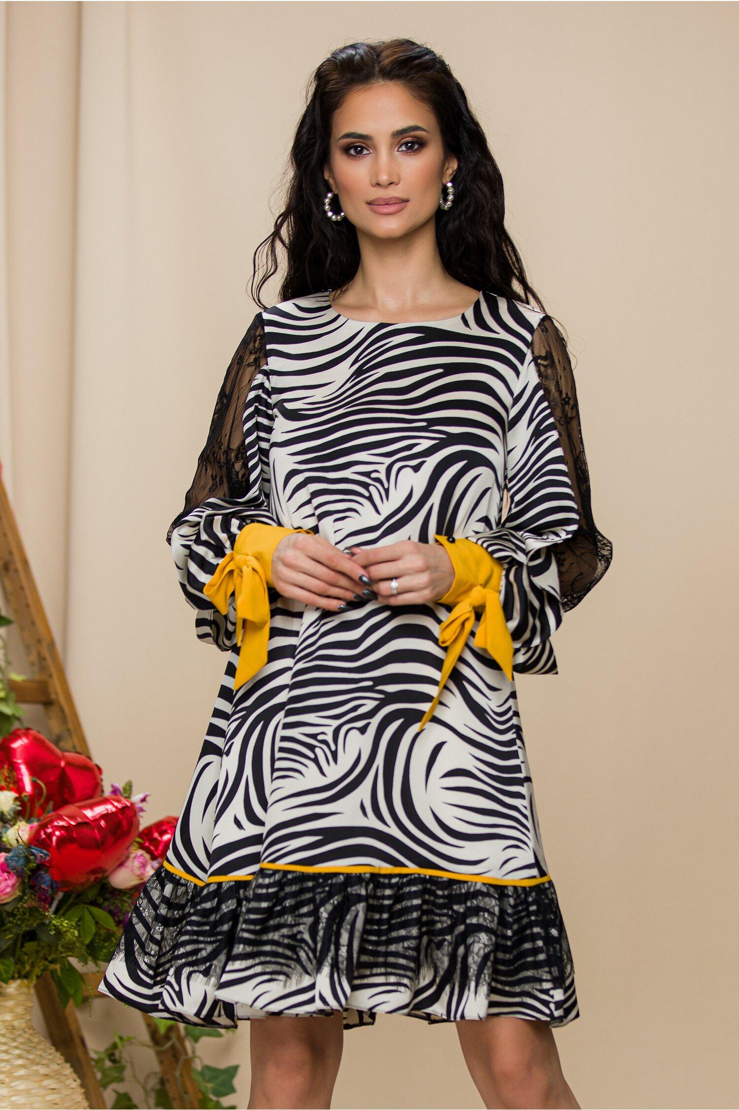 Rochie LaDonna cu zebra print si detalii galbene