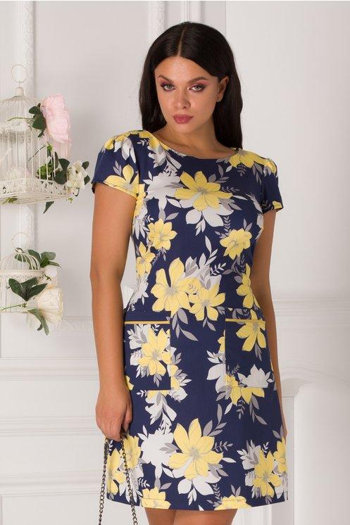 Rochie LaDonna de zi bleumarin cu flori galbene si gri