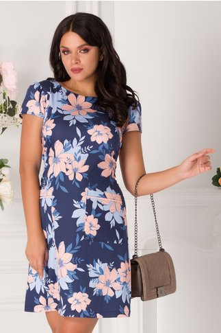 Rochie LaDonna de zi bleumarin cu flori somon