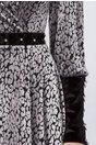 Rochie LaDonna din tull cu aplicatii animal print din catifea gri