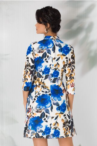 Rochie LaDonna evazata alba cu imprimeuri florale viu colorate
