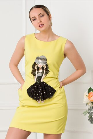 Rochie LaDonna galbena  fara maneci cu imprimeu portret