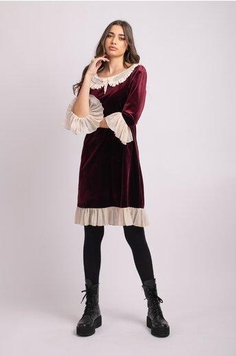 Rochie LaDonna grena din catifea cu insertii din voal crem
