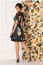 Rochie LaDonna gri petrol clos cu imprimeu floral maxi si dantela neagra