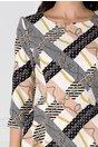 Rochie LaDonna ivoire cu dungi bej si imprimeu divers