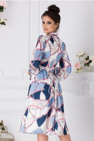 Rochie LaDonna ivoire cu imprimeu divers in tonuri de albastru si roz