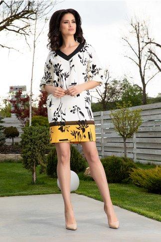 Rochie LaDonna ivoire cu imprimeuri negre si maneci bufante