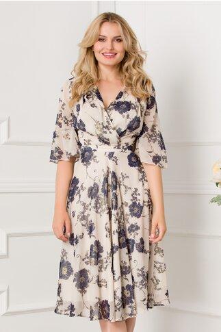 Rochie LaDonna ivory cu imprimeu floral bleumarin
