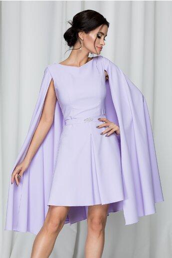 Rochie LaDonna lila cu pliuri si capa