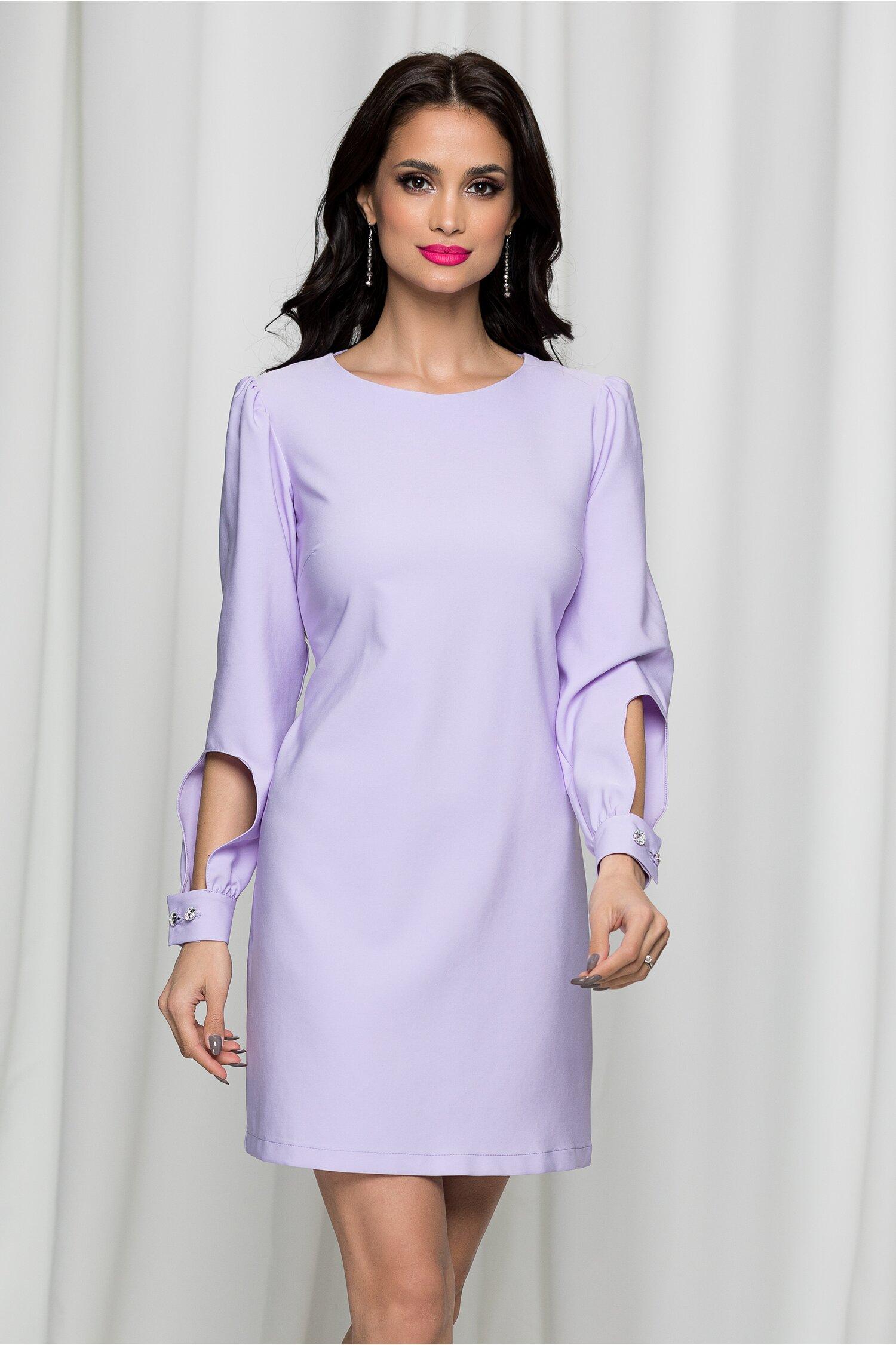 Rochie LaDonna lila eleganta decupata la maneci
