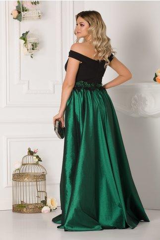 Rochie LaDonna lunga cu fusta verde si broderie 3D in talie
