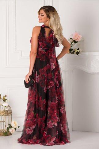 Rochie LaDonna lunga neagra din tull imprimat cu trandafiri