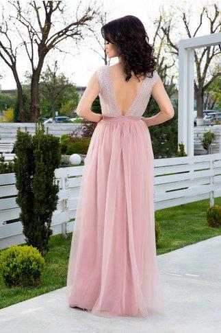 Rochie LaDonna lunga roz cu strasuri si margelute la bust
