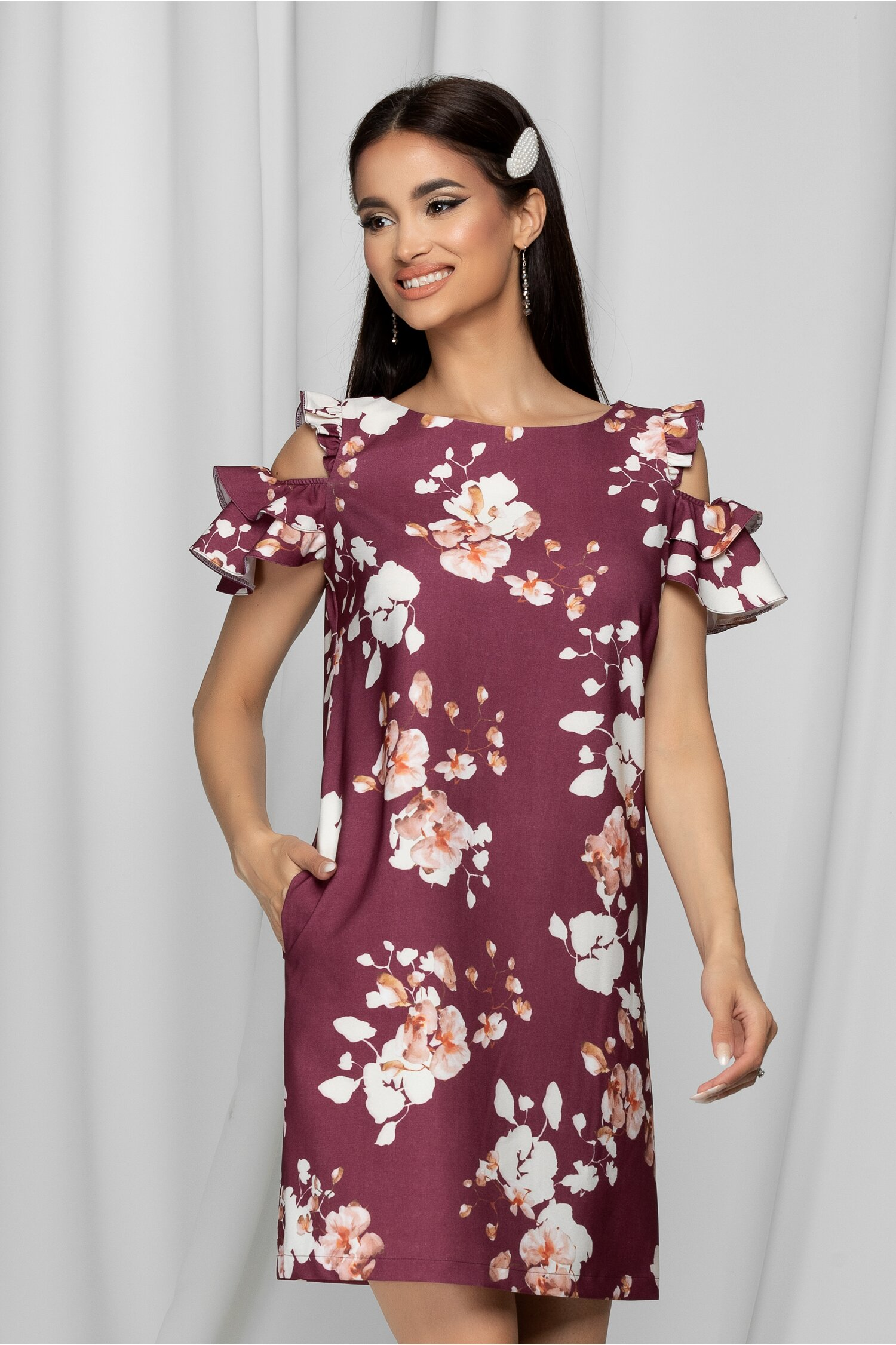 Rochie LaDonna mov cu imprimeu floral bej si buzunare functionale