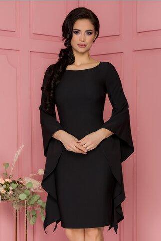 Rochie LaDonna neagra conica cu maneci fantezie