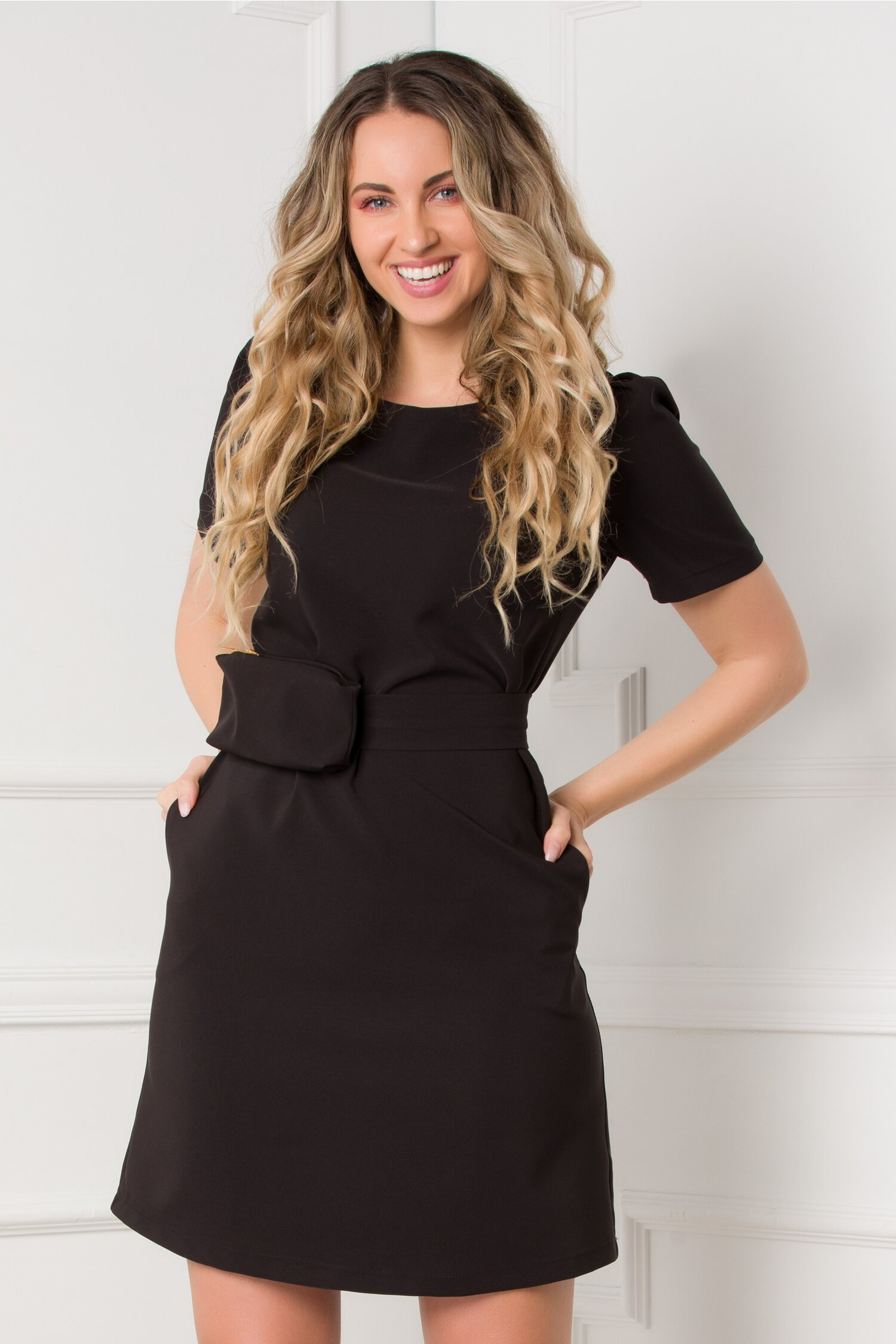 Rochie LaDonna neagra cu borseta imagine