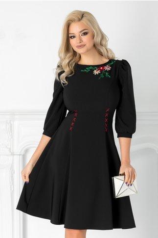 Rochie LaDonna neagra cu broderie florala handmade