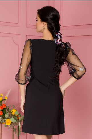 Rochie LaDonna neagra cu broderie la baza si maneci din tull usor bufante