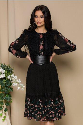 Rochie LaDonna neagra cu broderie roz si centura in talie