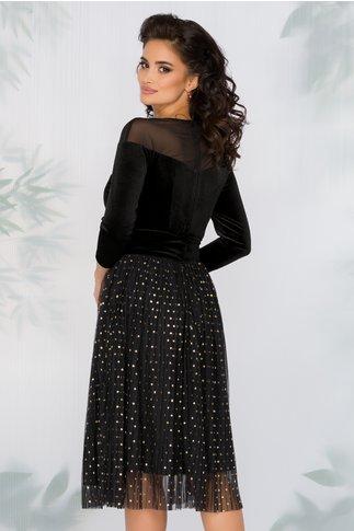 Rochie LaDonna neagra cu bustul din catifea si fusta din tull plisat cu buline din glitter auriu